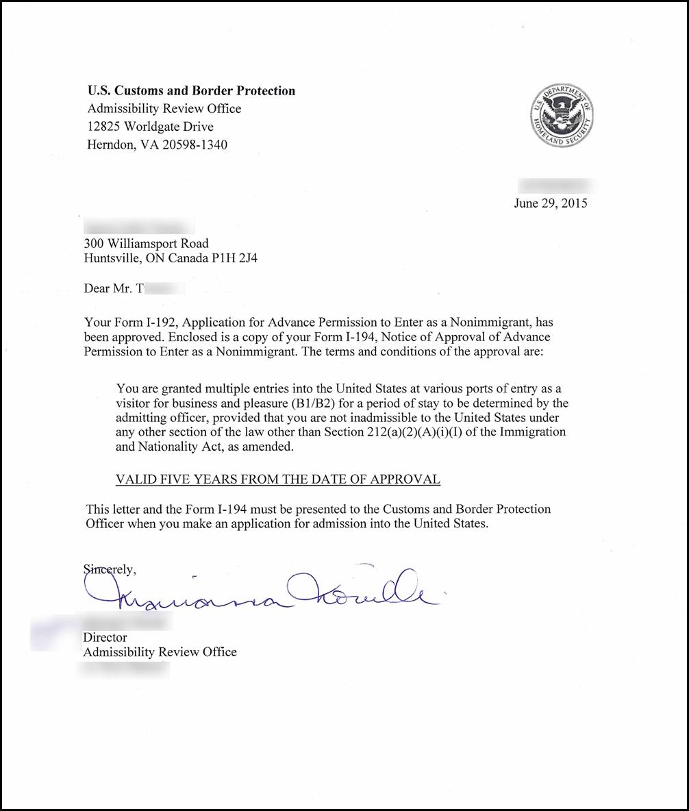 Pardons Canada Reviews - U.S Waiver Documents